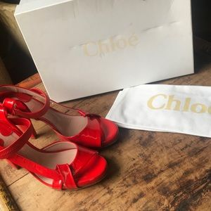 Gorgeous Red Patent Leather Chloé strappy heels 6